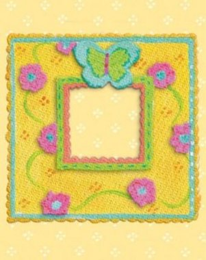 Kimberly Hodges - Fabric Art - Blue Butterfly Frame